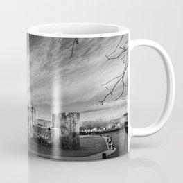 Caerphilly Castle Panorama Monochrome Coffee Mug