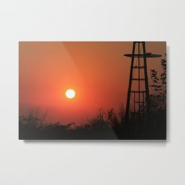 Blazing Red Kansas Windmill Silhouette Metal Print