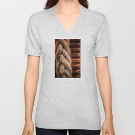 Thick braided rope from a boat, tied to a cogwheel Unisex V-Neck