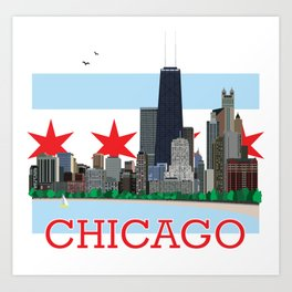 Chicago Gold Coast Skyline Illustration Chicago Flag Art Print