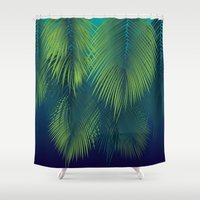 palm trees Shower Curtains featuring Palm Trees by Elyse Beisser