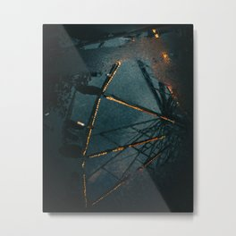 Reflection of ferris wheel on the fair - travel and street photography  - Belgium, Europe  Metal Print
