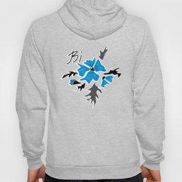 blue-black, flower pattern Hoody