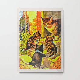 Vintage Cat Art Picture Metal Print