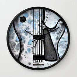 Guitar Art. Featured on back cover of The Music and Art of Black Cat Records. Wall Clock