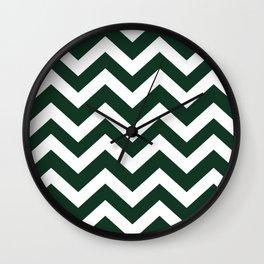 Phthalo green - green color - Zigzag Chevron Pattern Wall Clock