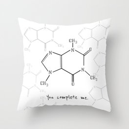 You Complete Me (Caffine Molecule) Throw Pillow