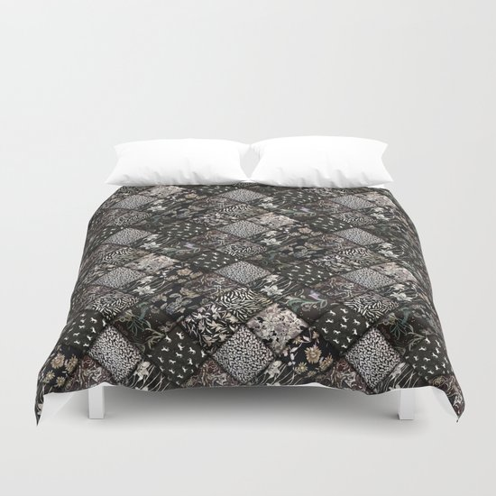 Faux Patchwork Quilting - Black Duvet Cover