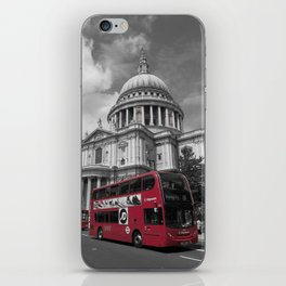 Double Decker Bus at St. Paul's Cathedral iPhone Skin