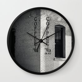 Coffee Print Vertical Black and White poster print Wall Clock