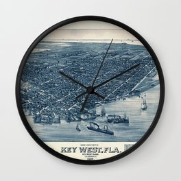 Map Of Key West 1884 Wall Clock
