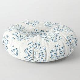 Portuguese tile style ornamental pattern - blue on cream Floor Pillow