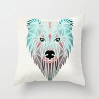 polar bear Throw Pillows featuring polar bear by Manoou