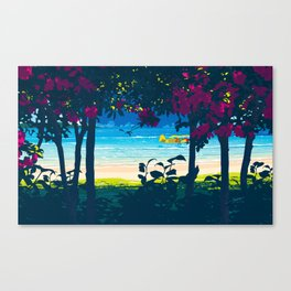 Red flower shade and beach Canvas Print