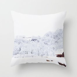 Cabin in the Snow (Color) Throw Pillow