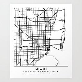MIAMI FLORIDA BLACK CITY STREET MAP ART Art Print