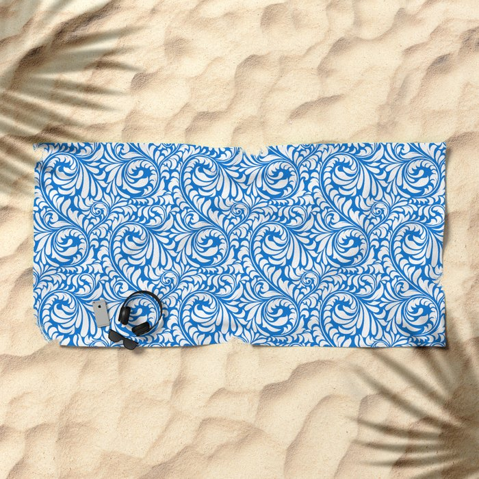 Blue Swirls Beach Towel