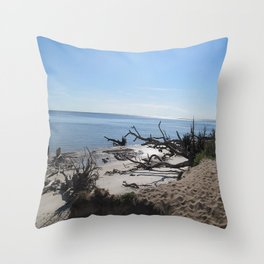 The Boney Trees on the Beach Throw Pillow