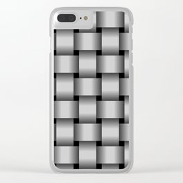 Large Light Gray Weave Clear iPhone Case