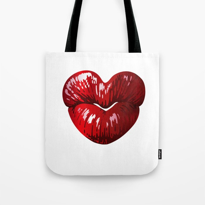 Heart Shaped Lips Tote Bag