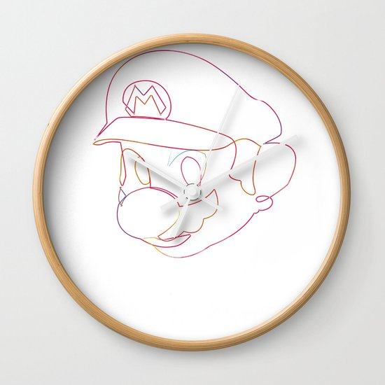One line Supermario Wall Clock