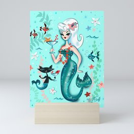 Martini Mermaid Platinum Blonde Mini Art Print