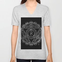 Black and White Throat Chakra Unisex V-Neck