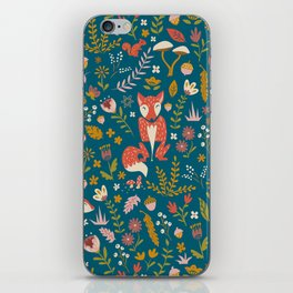 Fall Fox on Blue iPhone Skin