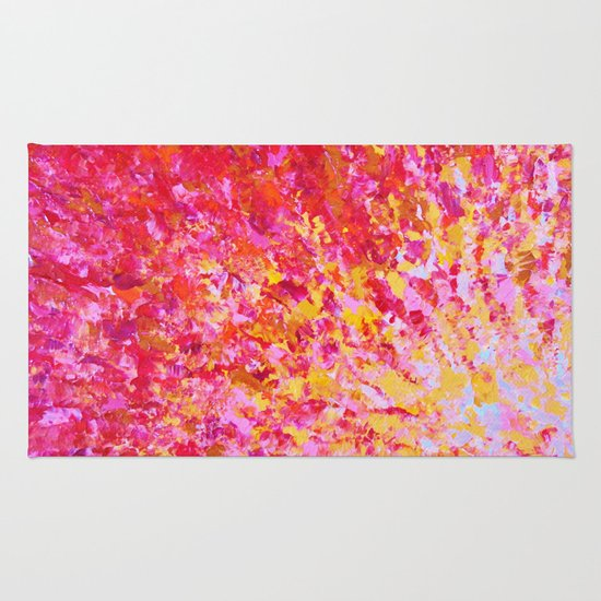 ROMANTIC DAYS - Lovely Sweet Romance, Valentine's Day Sweetheart Pink Red Abstract Acrylic Painting Rug