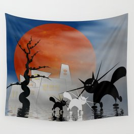 mooncats and their city Wall Tapestry