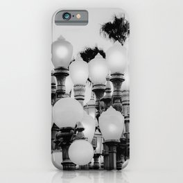 Urban Light at LACMA Los Angeles California USA in black and white iPhone Case