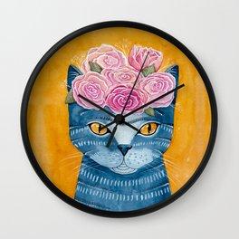 Frida Catlo in Blue Wall Clock