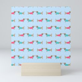 Cute dog lovers with dots in blue Mini Art Print