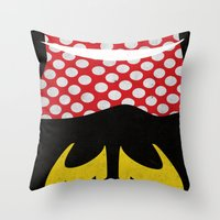 minnie mouse Throw Pillows featuring minnie mouse minimal grunge... by studiomarshallarts
