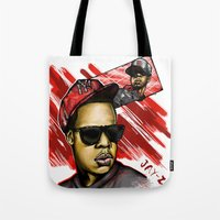 jay z Tote Bags featuring Jay Z by C.Love Designs