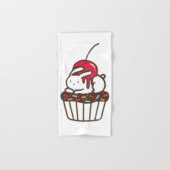 Chubby Bunny on a cupcake Hand & Bath Towel