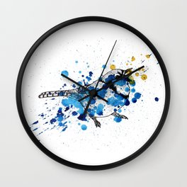 Splattered Blue jay Wall Clock