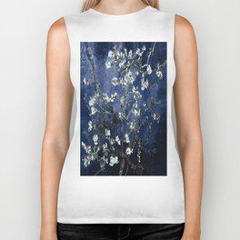Vincent Van Gogh Almond Blossoms Dark Blue Biker Tank