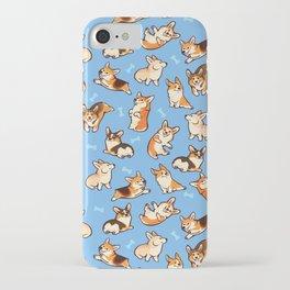 Jolly corgis in blue iPhone Case