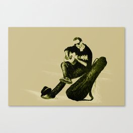 Guitarist playing on the street. Drawing illustration Canvas Print