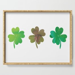 Lucky Watercolor Clovers Serving Tray