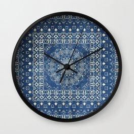 Old Bookshop Magic Mandala in Blue Wall Clock