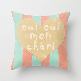 Oui Oui Mon Cheri Throw Pillow with Stripes and a Heart Throw Pillow