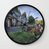 cafe Wall Clocks featuring Lakeside Cafe by Ian Mitchell