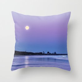 Supermoon setting at Saltburn-by-the-sea Throw Pillow