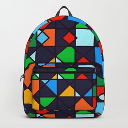 Bright, Bold & Colorful Geometric Architectural Design Pattern Backpack