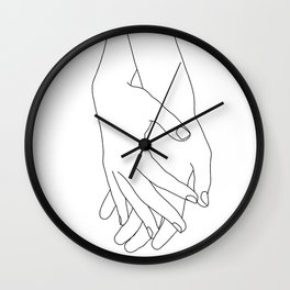 Holding hands illustration - Elana White Wall Clock
