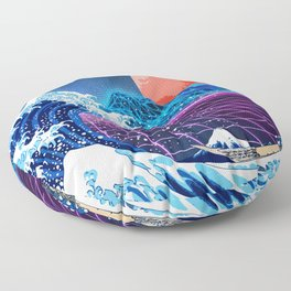 Synthwave Space: The Great Wave off Kanagawa #3 Floor Pillow