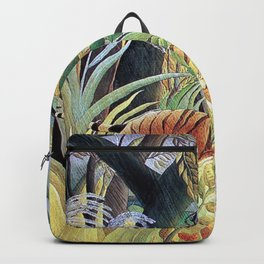 Tiger in a Tropical Storm (Surprised!) by Henri Rousseau 1891 // Jungle Rain Stormy Weather Scene Backpack