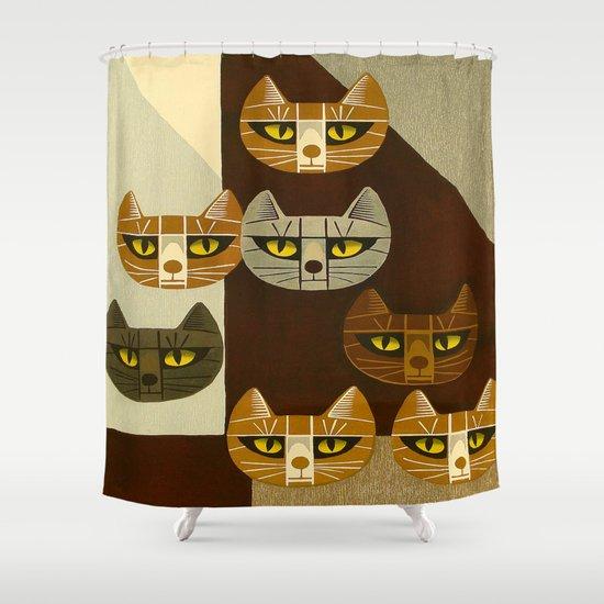Cat Pattern Japanese, Cat, Cubism, Woodblock Print, Cherry Blossom, Midcentury, Modern by enshape